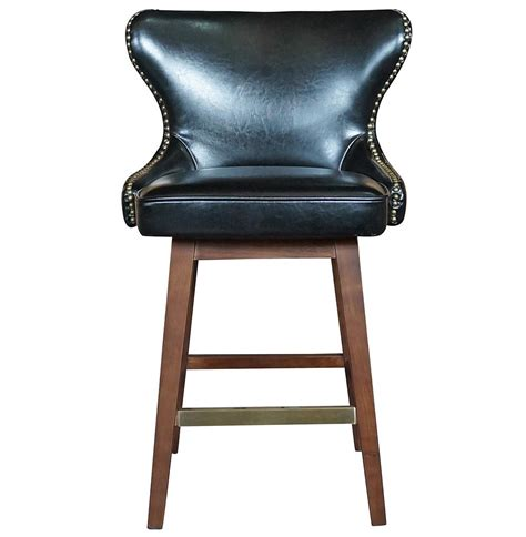 Dark Wood Dining Room Chairs by Dancy Masculine Black Leather English Tufted Swivel