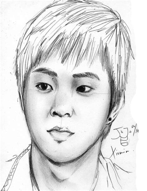 sketchbook exo exo m xuimin pencil sketch by takojojo15 on deviantart