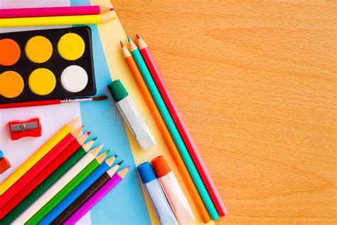 colorful office school supplies royalty free stock image colorful art supplies on a school desk stock photo image