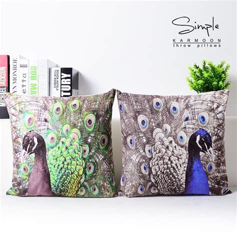 throw cushions for decor home super soft velvet peacock feather home decor pillow cover