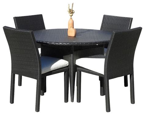 Resin Patio Table And Chairs Outdoor Wicker New Resin 5 Dining Table And Chair Set Contemporary Outdoor