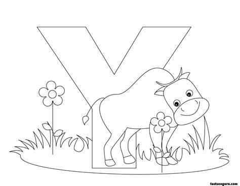 coloring page of a yak printable animal alphabet worksheets letter y is for yak