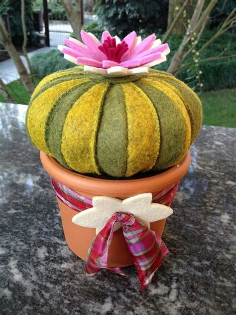 cuscino di suocera cactus in feltro cuscino della suocera con fiore rosa