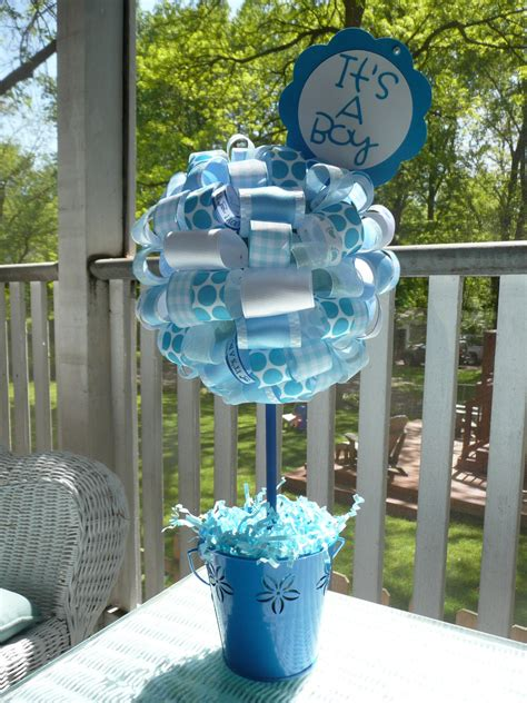 Baby Shower Centerpiece For Boy by It S A Boy Baby Blue And White Ribbon Centerpiece Topiary