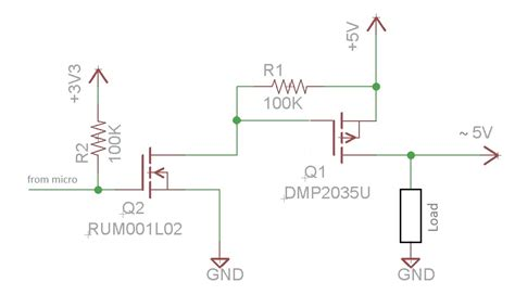 transistor load or switch mosfet selecting a transistor for high side switching at 5v with a 2a load current
