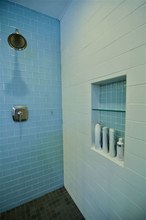 modern subway tile bathroom glass and matte white subway tile modern bathroom