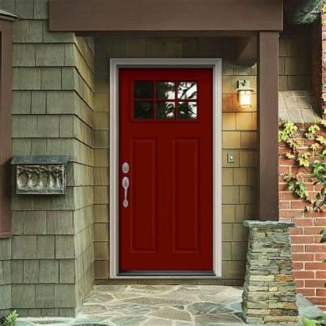 32 in x 80 in craftsman 6 lite painted premium steel prehung front door with brickmould