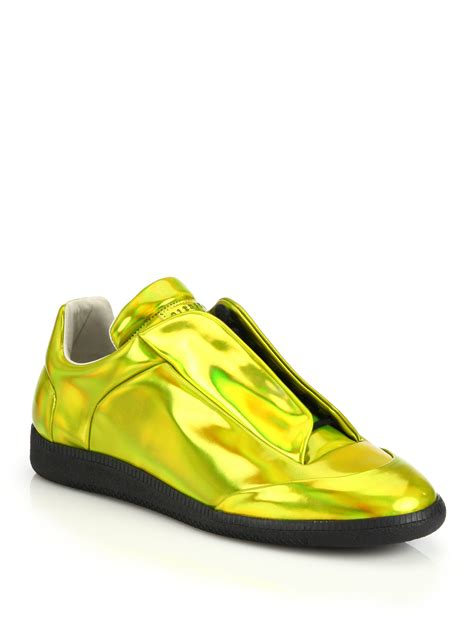 gold sneakers for maison margiela future metallic leather sneakers in gold