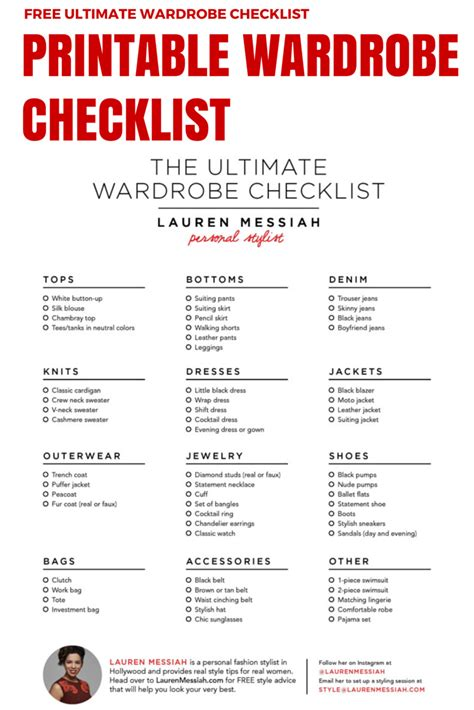 Minimalist Closet List by Free Checklist For The Ultimate Wardrobe Stocked With All