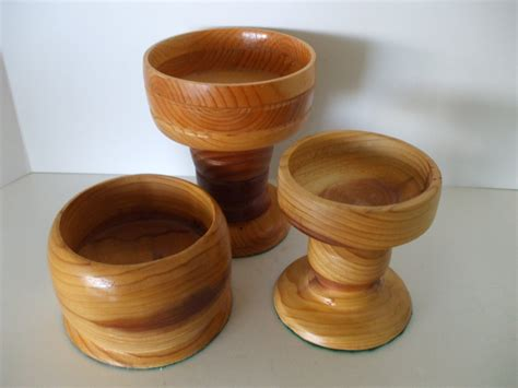 Handcrafted Candle Holders - turned wood multi color handcrafted candle holders 3