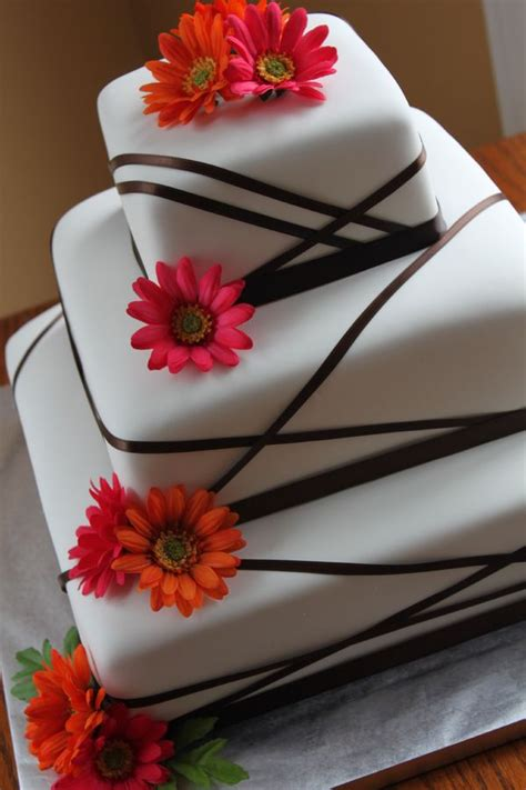 Square Wedding Cake Designs by Square Cake Design With Ribbons Ribbon Wedding Cake With