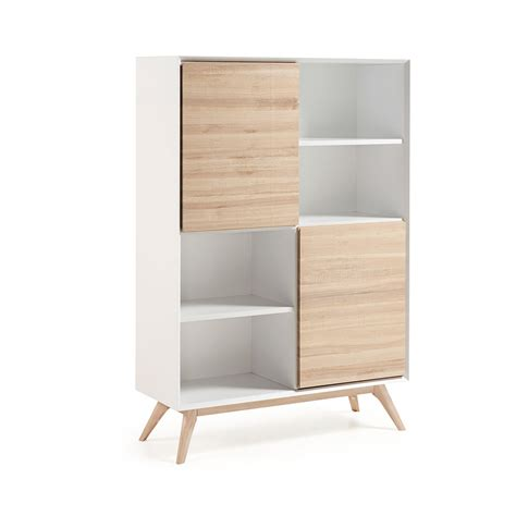 Bibliotheque Design by Biblioth 232 Que Design Blanc Et Bois De Fr 234 Ne Avec Portes