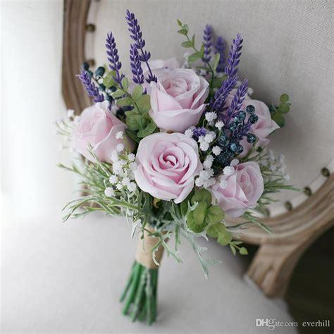 Artificial Lavender Flower Bouquet vini artificial pink roses purple lavender wedding