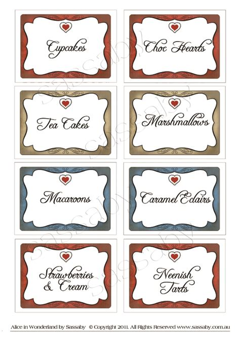 alice in wonderland party labels sassaby parties