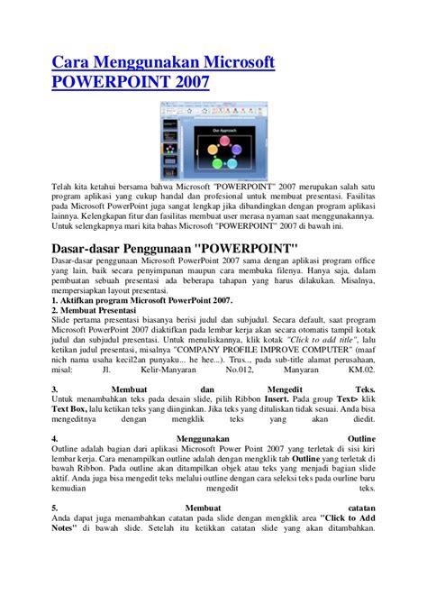 cara membuat powerpoint read only cara menggunakan microsoft powerpoint 2007