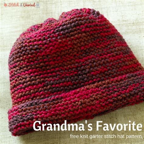 simple pattern for knitted beanie grandma s favorite knit garter stitch hat pattern