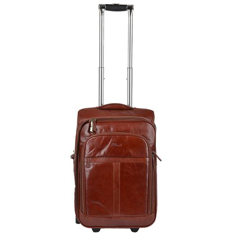 cabin trolley veg tanned leather luggage cabin trolley cognac vt 89150