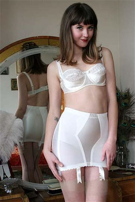 full feminization son 60s vintage original rago 1559 ivory satin six garter