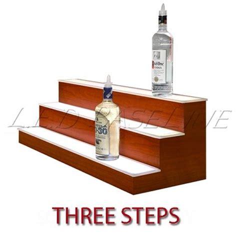 diy lighted bar shelves led lighted bar shelf three steps liquor display