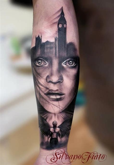 tattoos london places angel and london skyline tattoo by silvano fiato female
