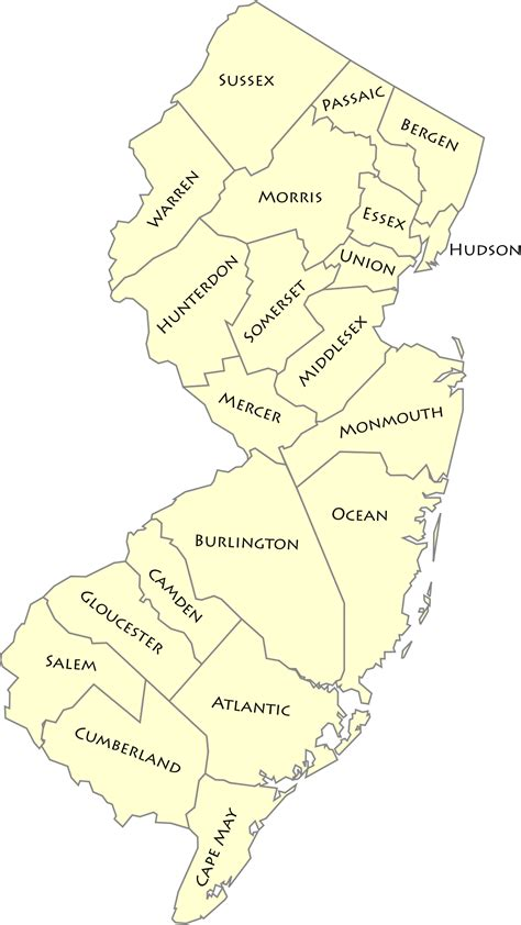 New Jersey Number Search List Of Counties In New Jersey