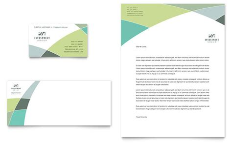 financial advisor business card letterhead template design