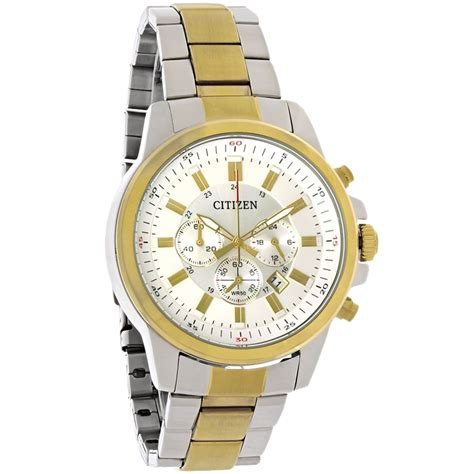 Chronograph Silver White citizen quartz mens white silver two tone chronograph an8087 51a ebay