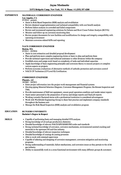 Corrosion Specialist Sle Resume corrosion specialist sle resume critical cover letter performance plan sle