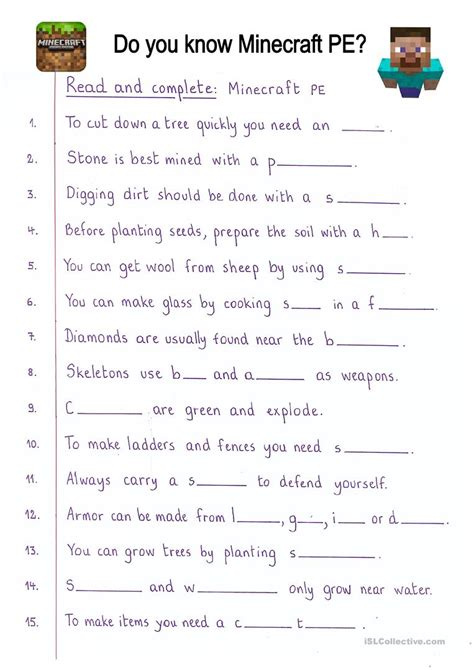 printable minecraft quiz worksheet pe worksheets grass fedjp worksheet study site