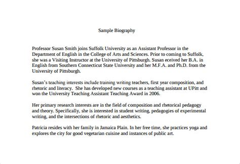 short biography exle academic sle biography 6 documents in pdf word