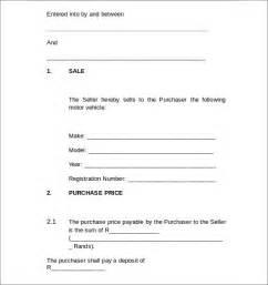 Agreement Of Sale Template For A Vehicle by Sle Agreement Letters 5 Vehicle Purchase Agreement