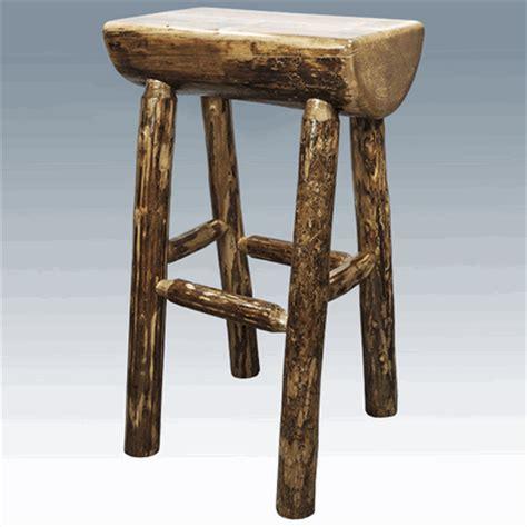 Pine Bar Stool by Amish Quot Glacier Quot Pine Half Log Bar Stool