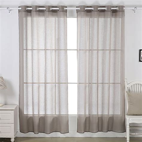 Living Room L Pair Deconovo Linen Look Sheer Curtains Panels With Grommets