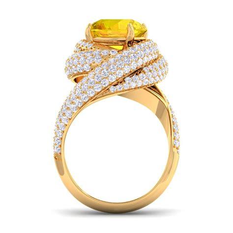 yellow sapphire ij  diamonds gemstone engagement ring womens  gold