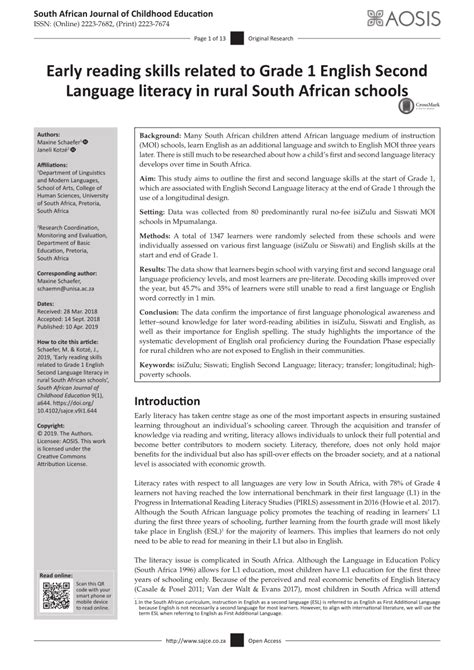 Pdf Early Reading Skills Related To Grade 1 English