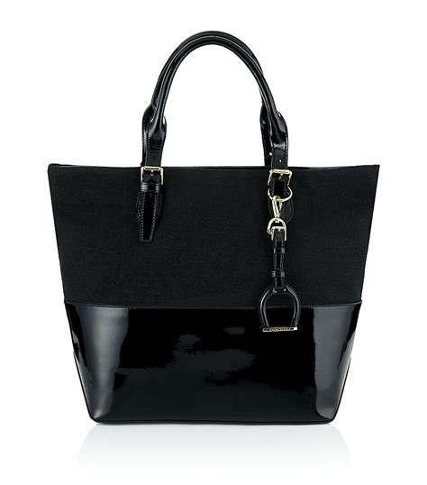 Ralph Blue Label Small Canvas Tote by Ralph Blue Label Canvas And Patent Leather Saddle