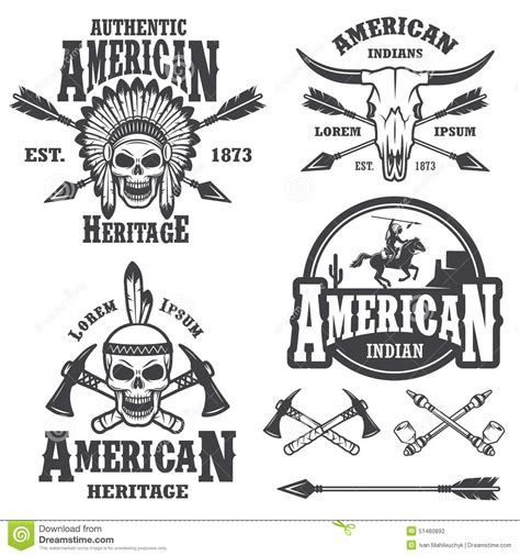 set of american indian emblems stock vector illustration