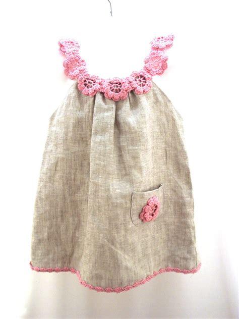 Dress Tunic Baby linen organic flower dress tunic crochet sew for the