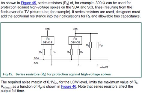 series protection resistors on i2c lines electrical engineering stack exchange
