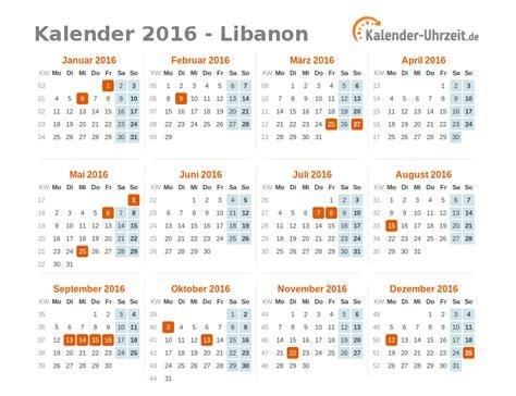 Freitag Kalender 2016 Feiertage 2016 Libanon Kalender 220 Bersicht