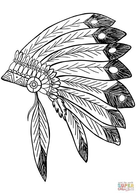 indian headdress coloring sheet american native indian feather headress coloring page