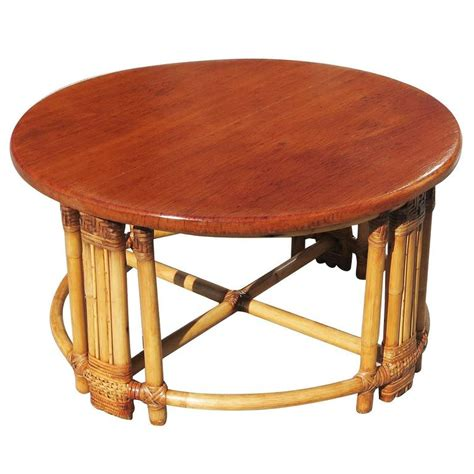 Fancy Coffee Tables Rattan Coffee Table With Mahogany Top And Fancy Wrapping For Sale At 1stdibs