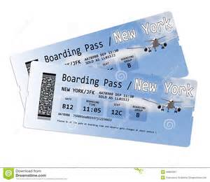 Flights From To Nyc Airline Boarding Pass Tickets To New York Isolated On