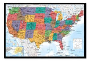 usa united states map wall chart framed cork pin board