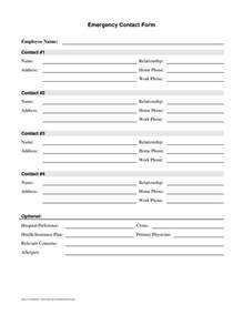 emergency contact form template best business template