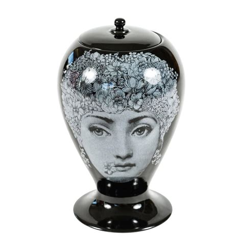 stunning vase with lid by fornasetti by bitossi at 1stdibs