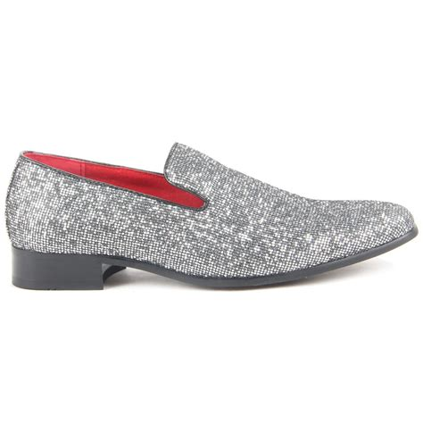 mens sparkling slip on shoes glitter sequin wear