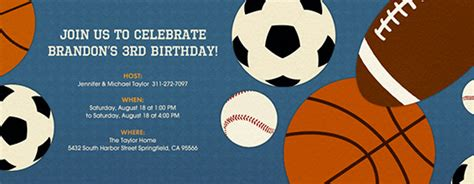 sports themed birthday ecards birthday for kids free online invitations