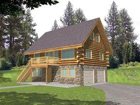 cabin plans with garage leverette raised log cabin home plan 088d 0048 house