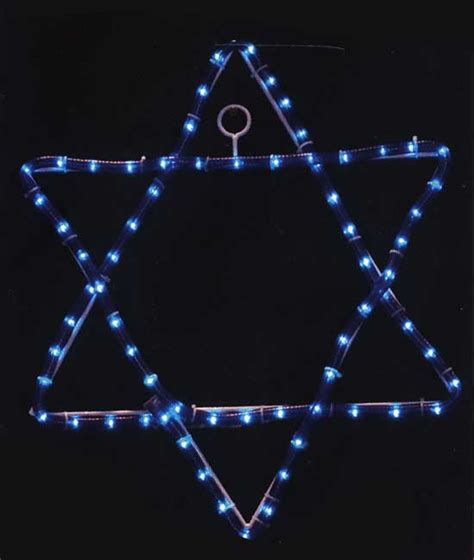 large star of david lighted window decor
